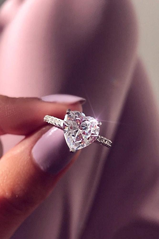 solitaire engagement rings white gold heart cut solitaire engagement ring pave band