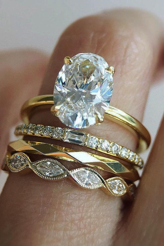 solitaire engagement rings yellow gold oval diamond rings set