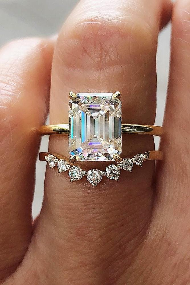solitaire engagement rings yellow gold wedding sets with emerald cut moissanite solitaire diamond band