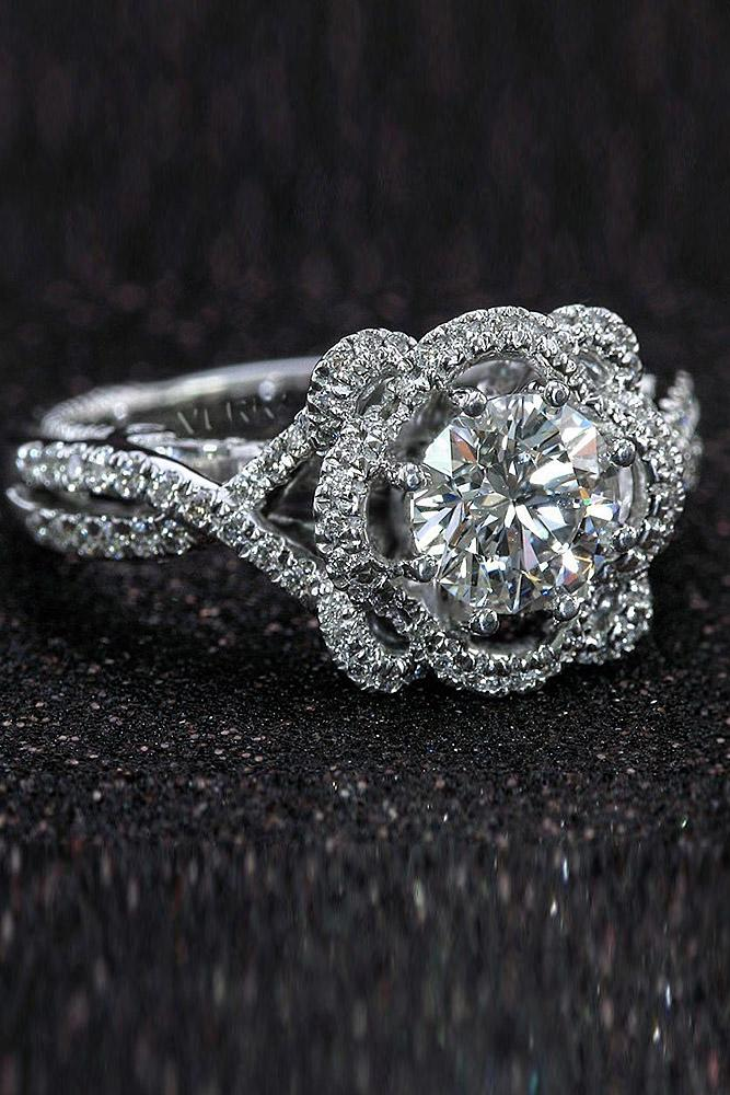 verragio engagement rings floral round diamond twist pave band