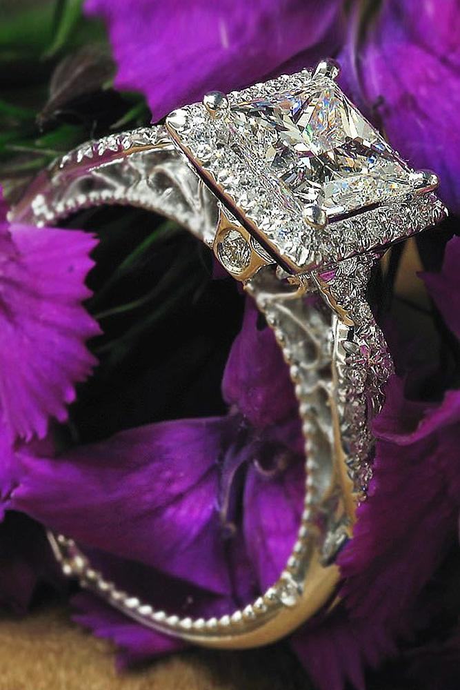 verragio engagement rings halo princess cut twist pave band