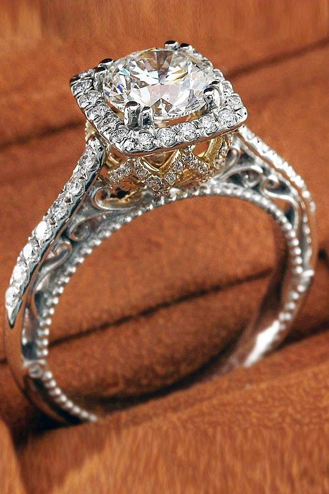 verragio engagement rings halo round diamond pave band