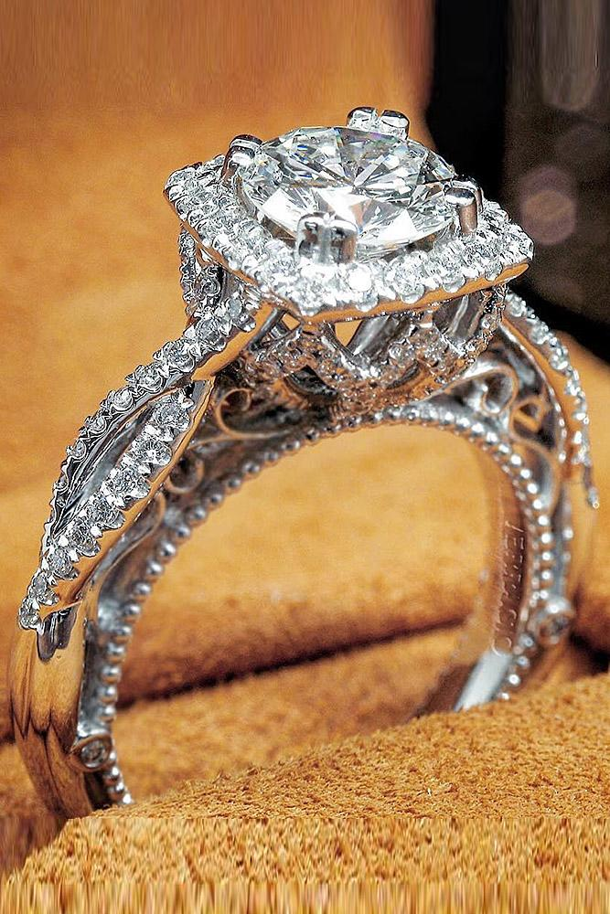 verragio engagement rings halo white gold twist pave band round diamond