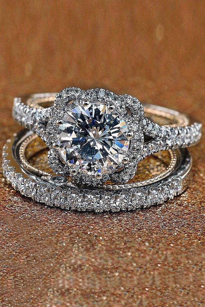 verragio engagement rings round diamond pave band white gold