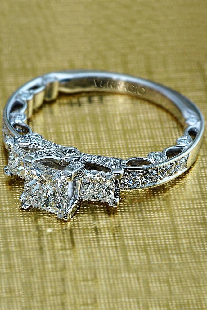 verragio engagement rings three stones princess cut diamond white gold