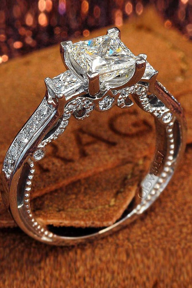 verragio engagement rings three stones solitaire pave band princess cut diamond