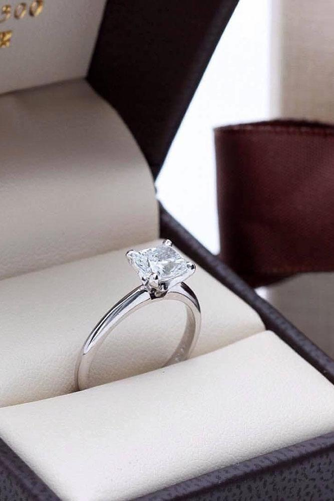white gold engagement rings cushion cut diamond simple ring