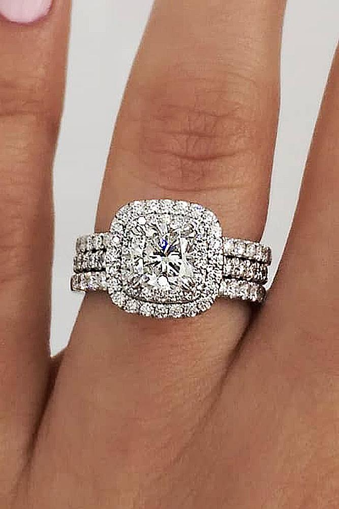 white gold engagement rings round cut diamond halo split pave band