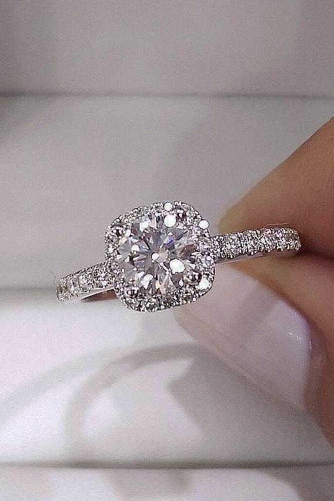 white gold engagement rings round cut diamond pave band classic
