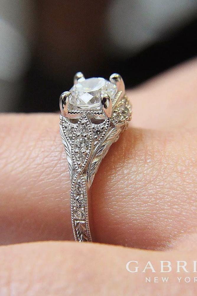 white gold engagement rings round cut diamond platinum vintage style