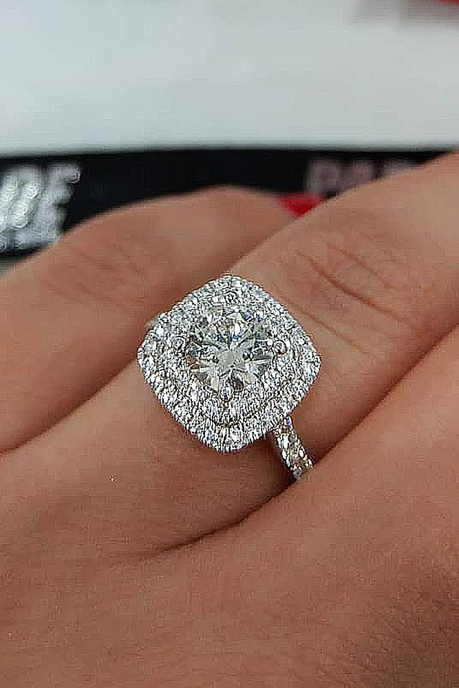 white gold engagement rings round cut double halo pave band