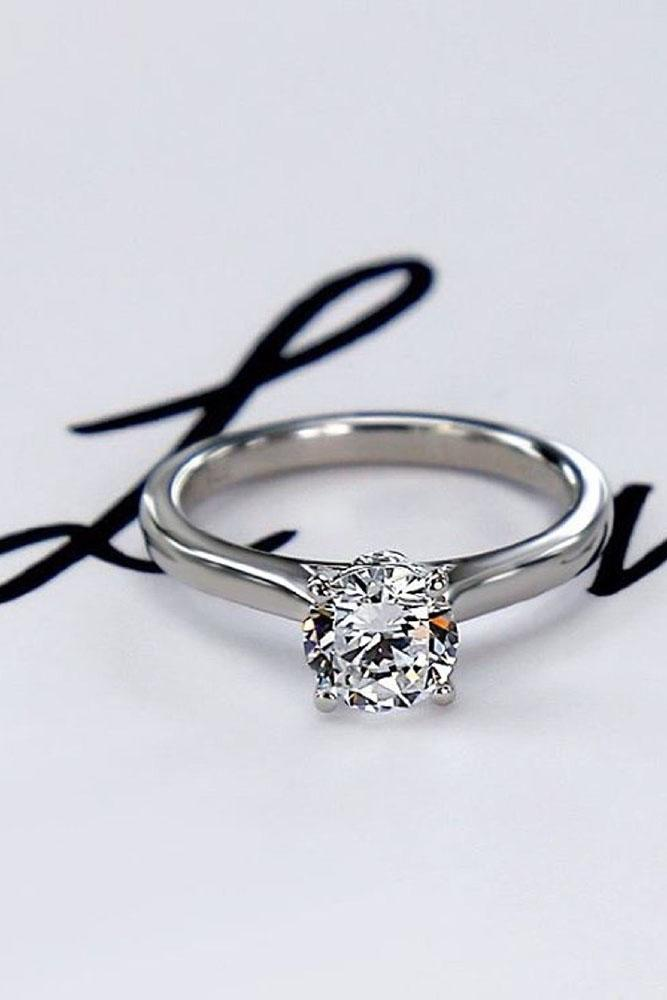 white gold engagement rings simple round cut diamond