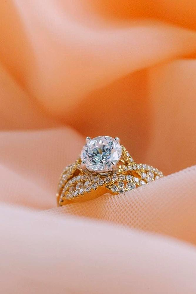 yellow gold engagement rings amazing ring with twisted bands round cut diamond solitaire brilliant