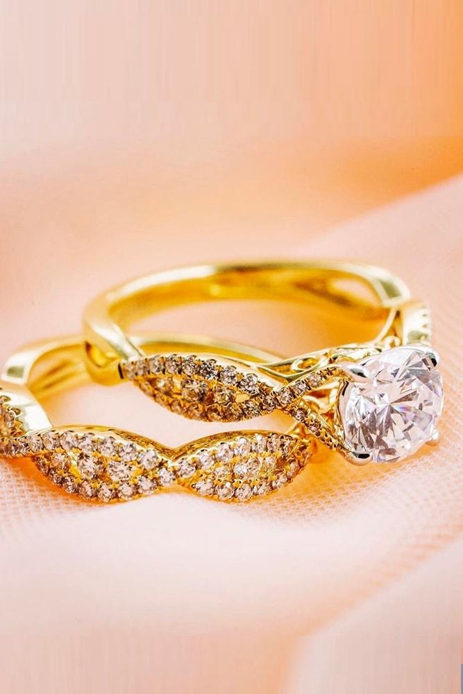yellow gold engagement rings amazing ring with twisted bands round cut diamond sparkling