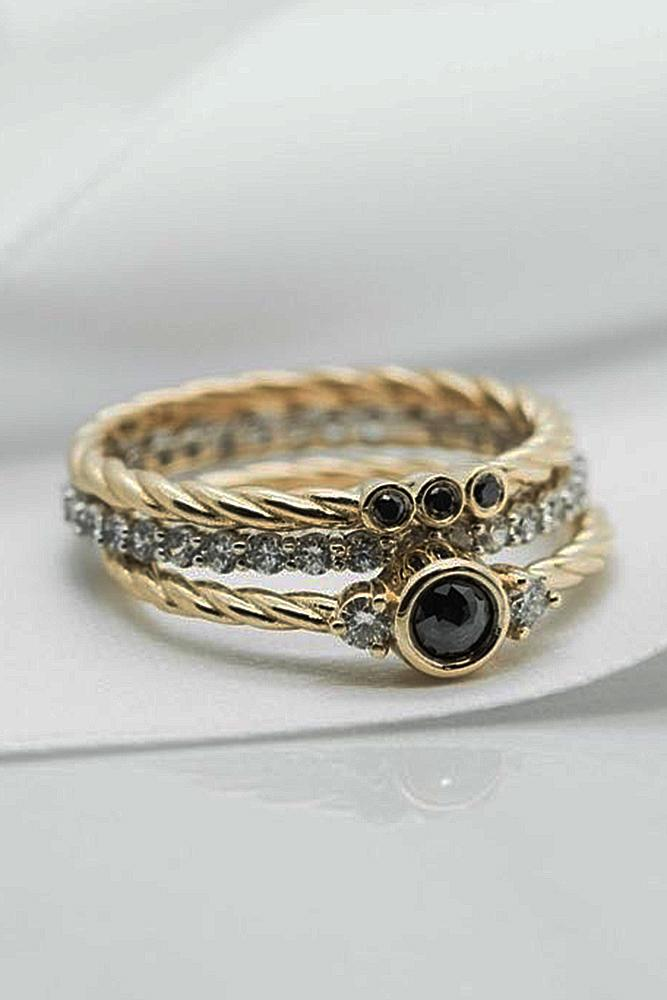 yellow gold engagement rings black diamond stackable band