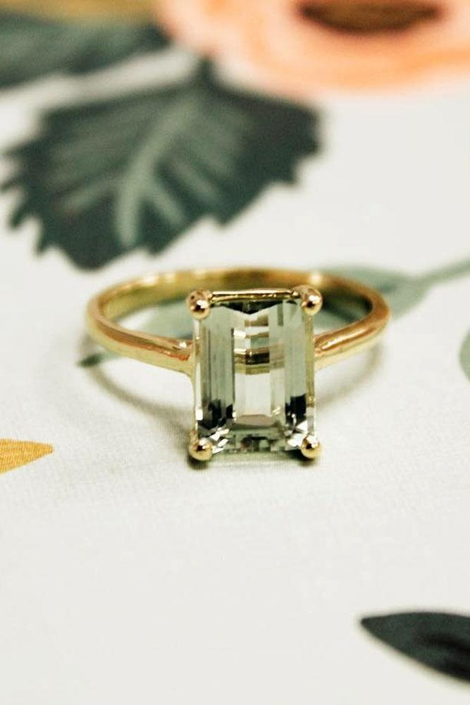 yellow gold engagement rings emerald cut solitaire ring