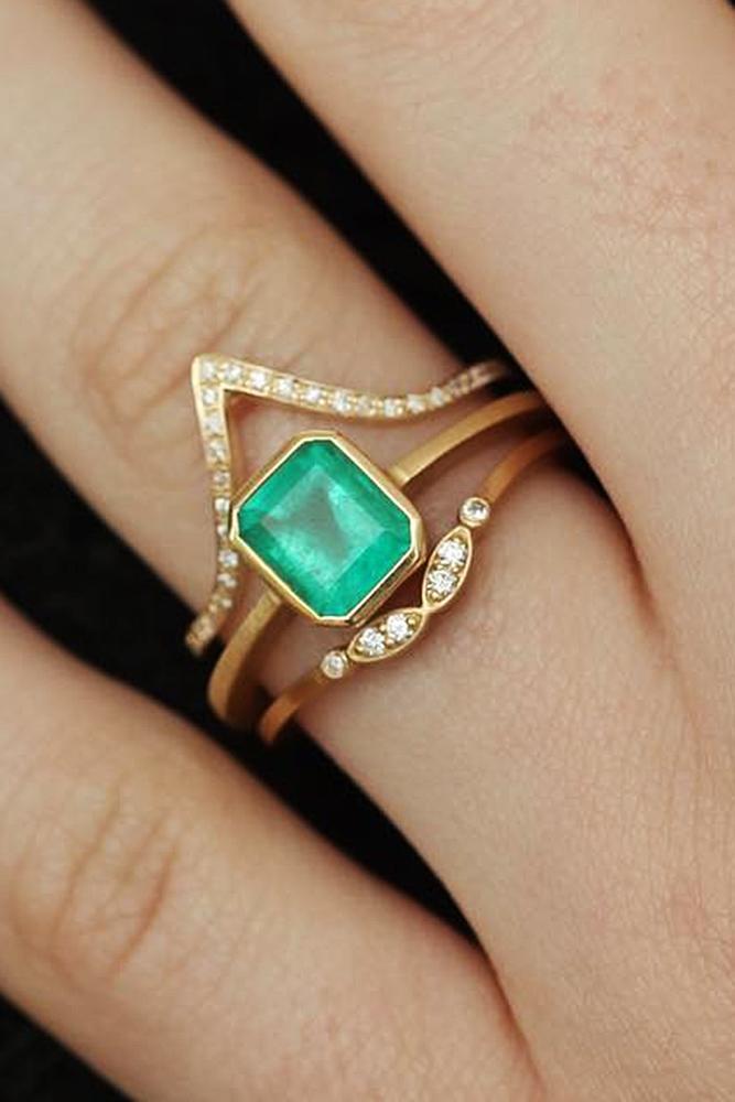 yellow gold engagement rings gemstone emerald cut wedding set unique