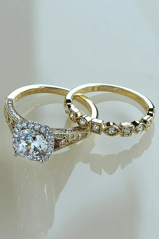 yellow gold engagement rings halo pave band set round cut