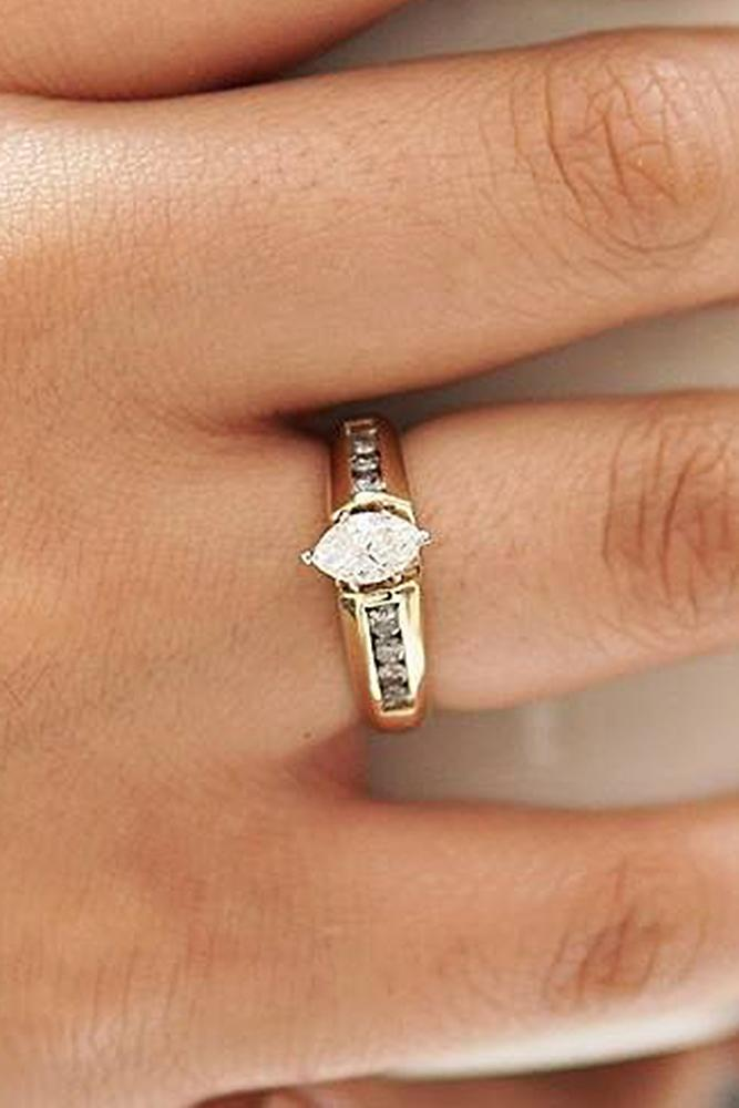 yellow gold engagement rings marquise cut diamond vintage