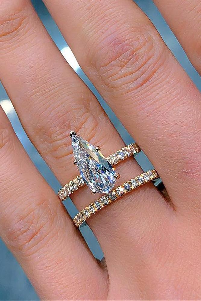 yellow gold engagement rings pear cut solitaire wedding set