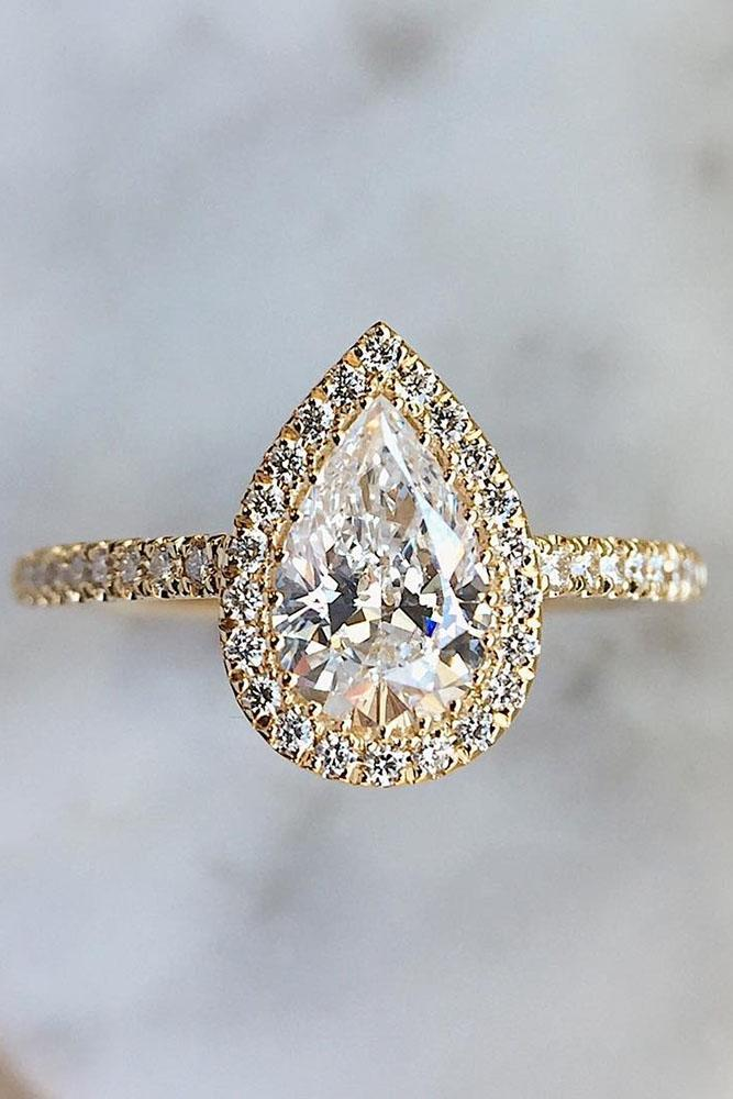 yellow gold engagement rings pear diamond halo pave band