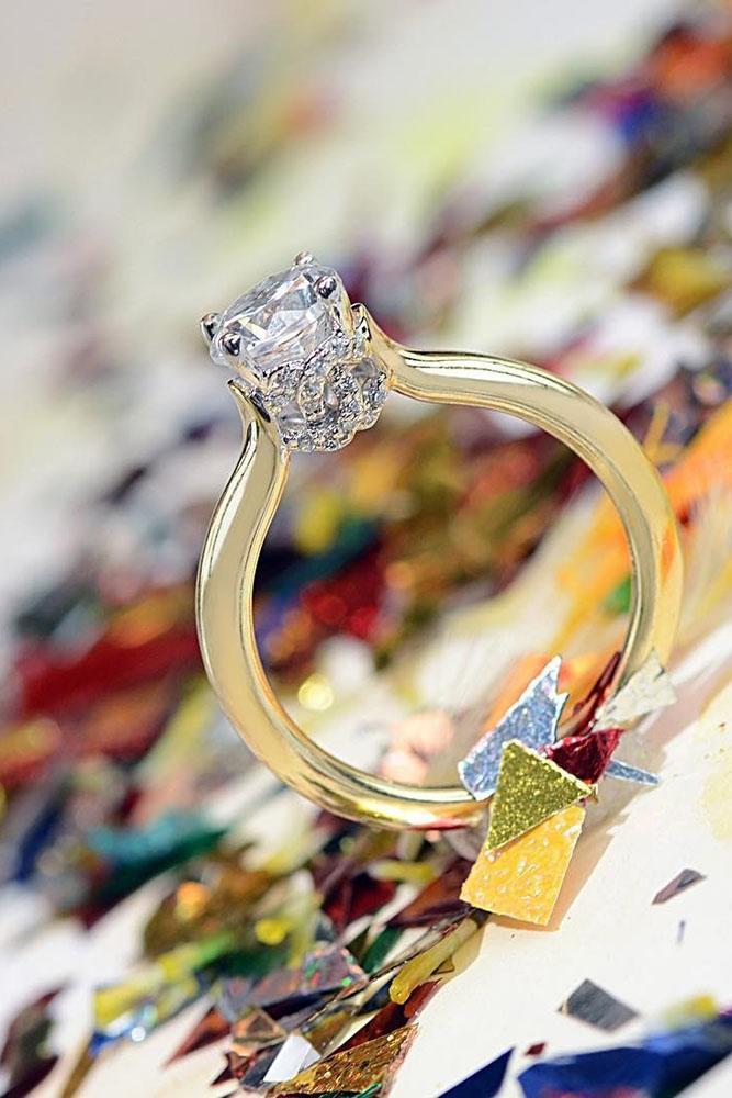 yellow gold engagement rings round cut diamond solitaire unique details