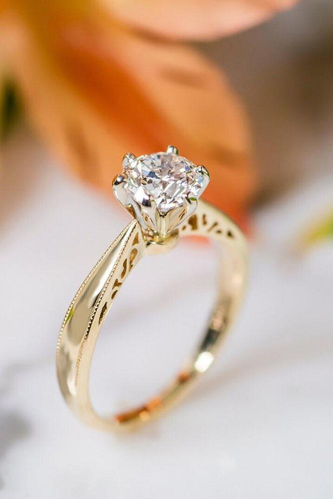 yellow jewellery rings gold stone engagement side solitaire diamond ring