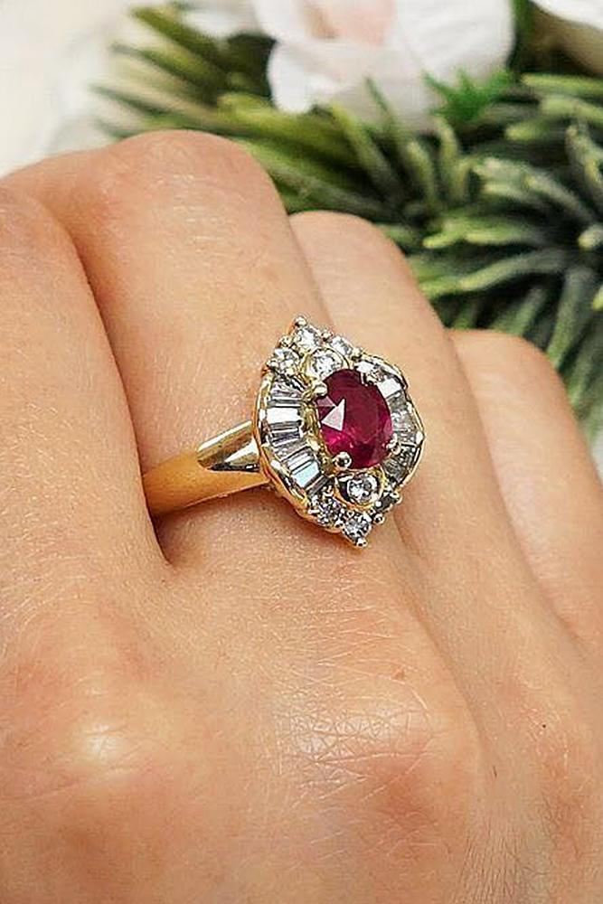 yellow gold engagement rings ruby vintage halo floral