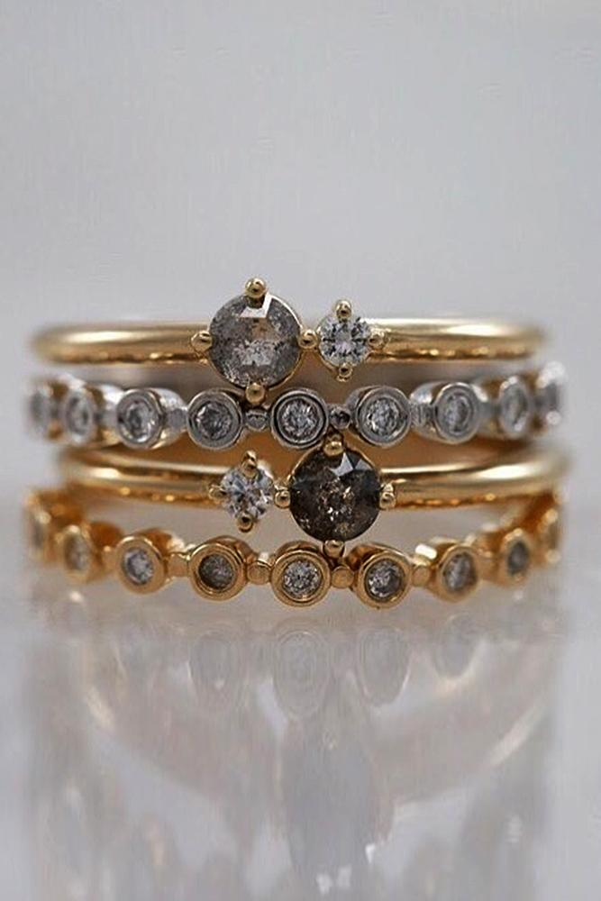yellow gold engagement rings stackable ring band diamond