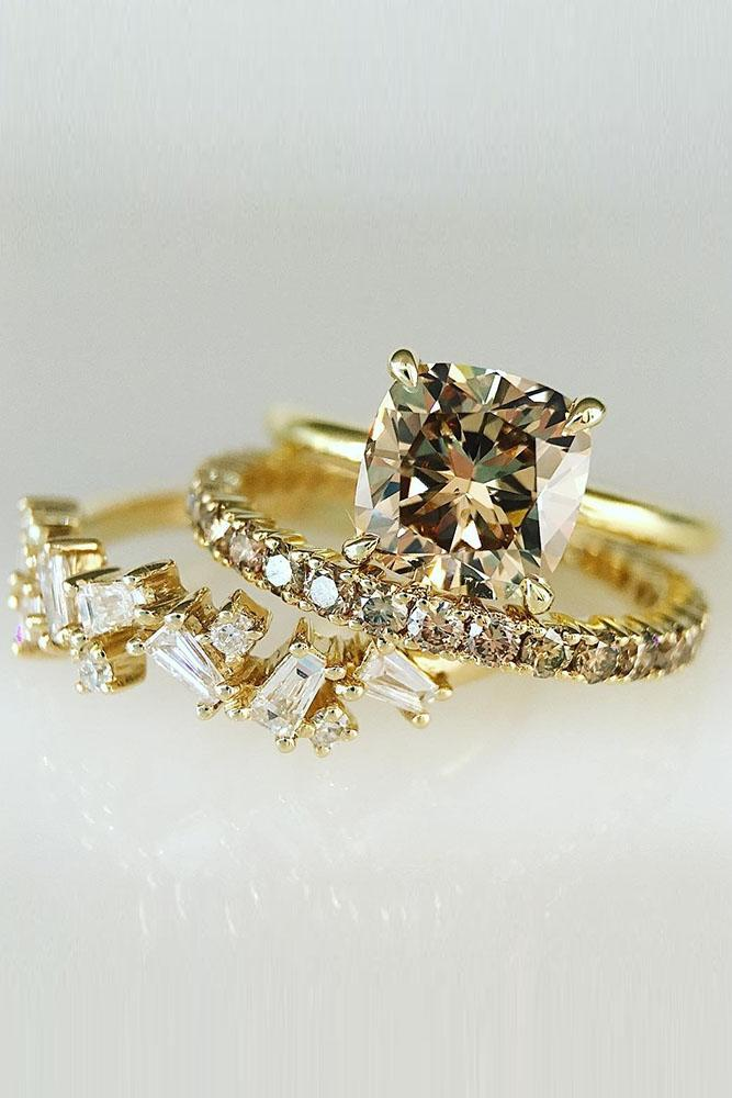yellow gold engagement rings topaz cushion cut solitaire