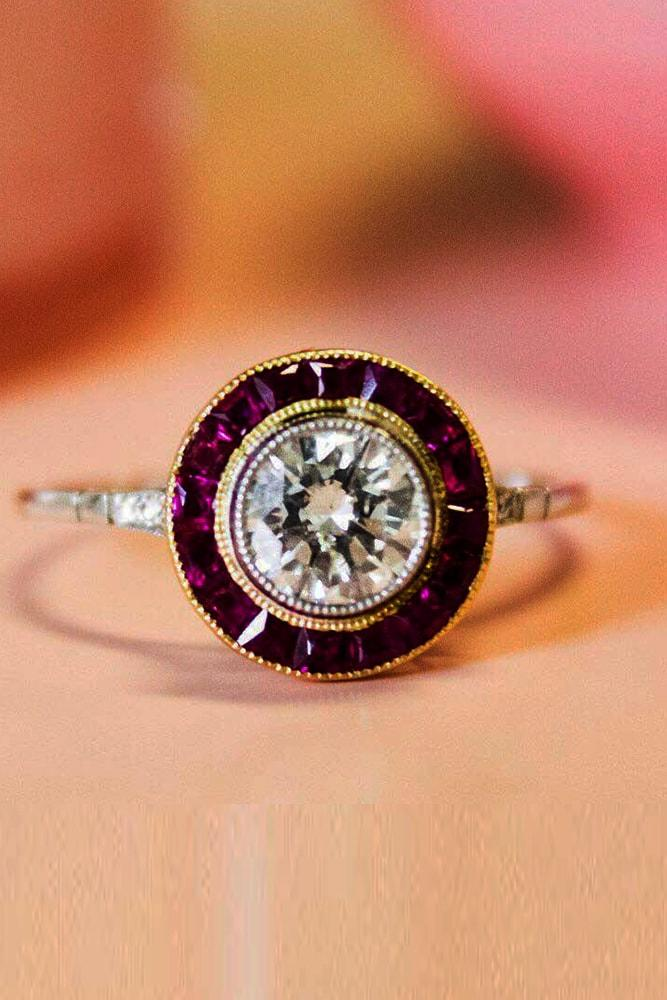 yellow gold engagement rings unique design round cut gemstone halo classic pave band