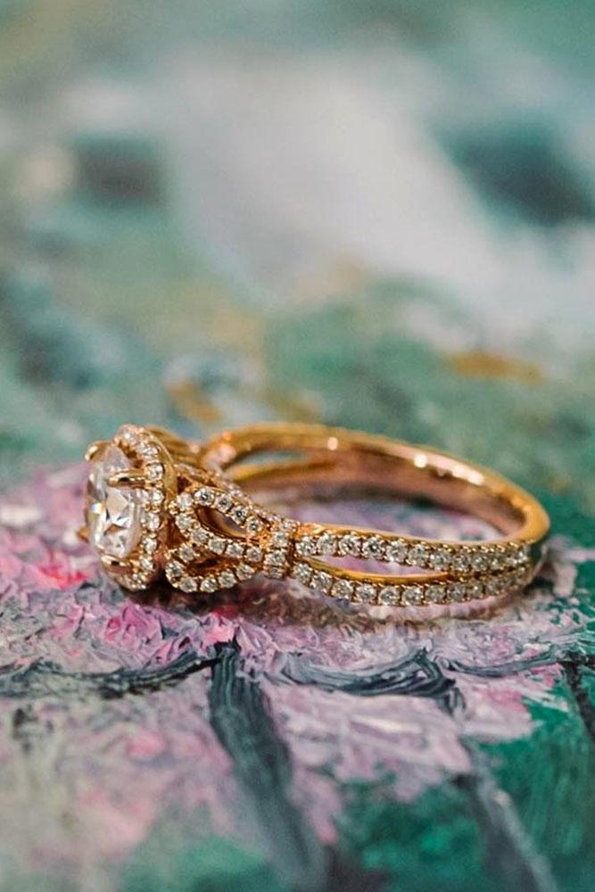yellow gold engagement rings unique round cut halo twist pave band