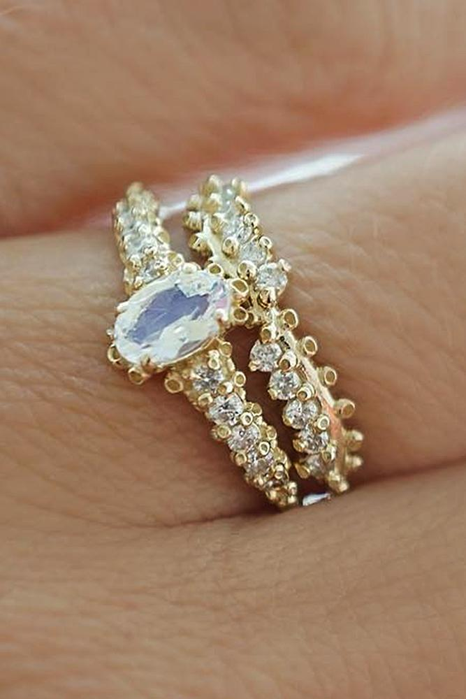 yellow gold engagement rings wedding set diamond oval cut unique