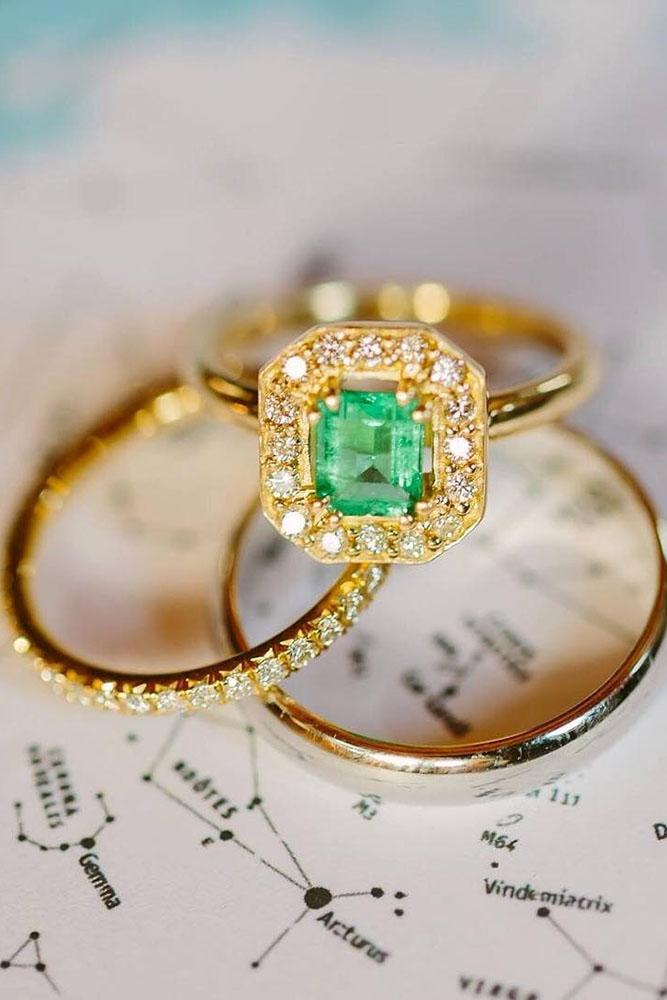 yellow gold engagement vintage rings gems halo ring wedding bands