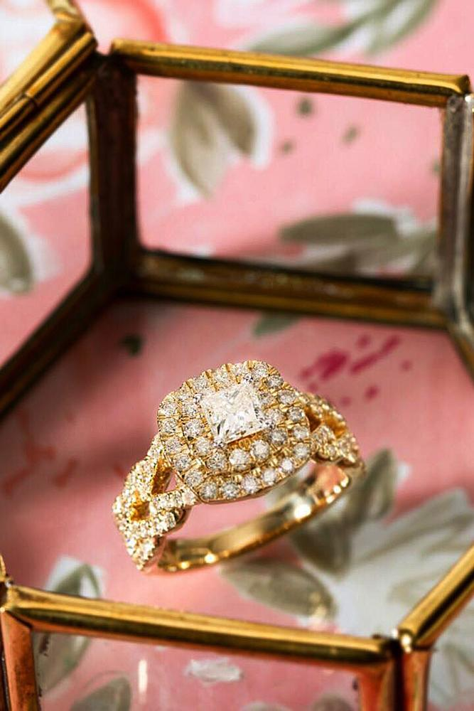 zales engagement rings double halo rose gold princess cut