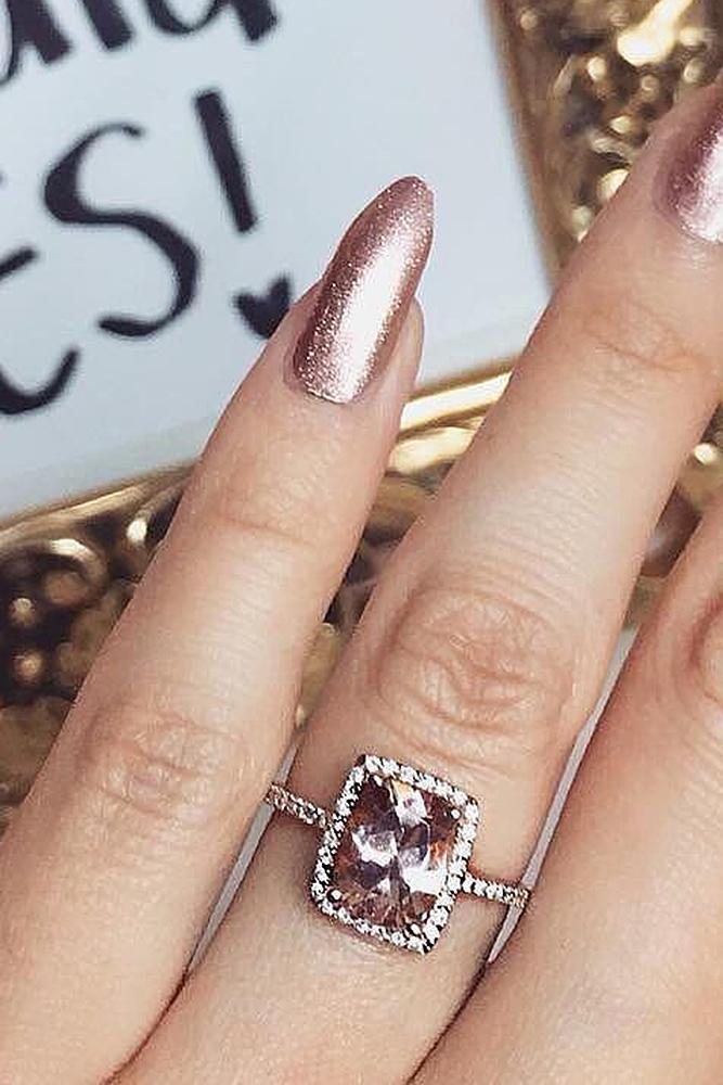 zales engagement rings halo morganite emerald cut