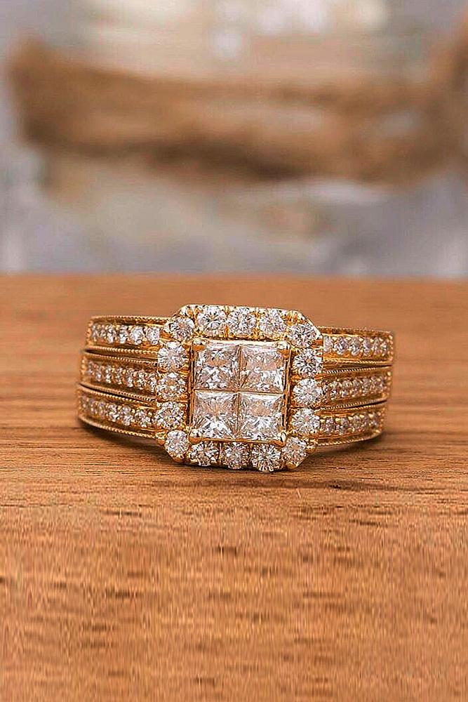 zales engagement rings princess cut halo rose gold three pave bands
