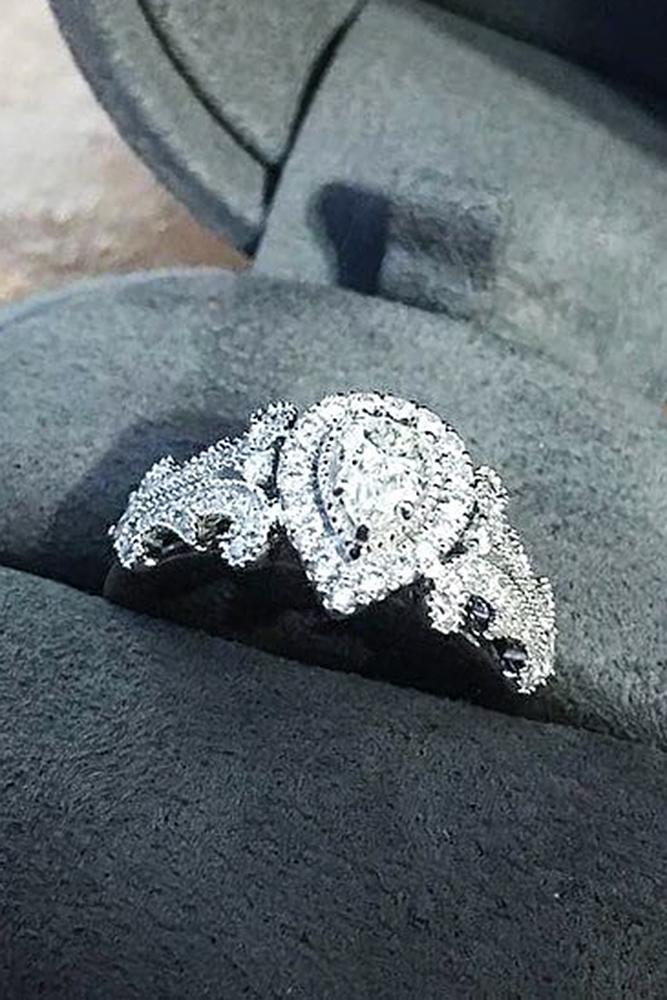 zales engagement rings vintage white gold pave band pear cut diamond