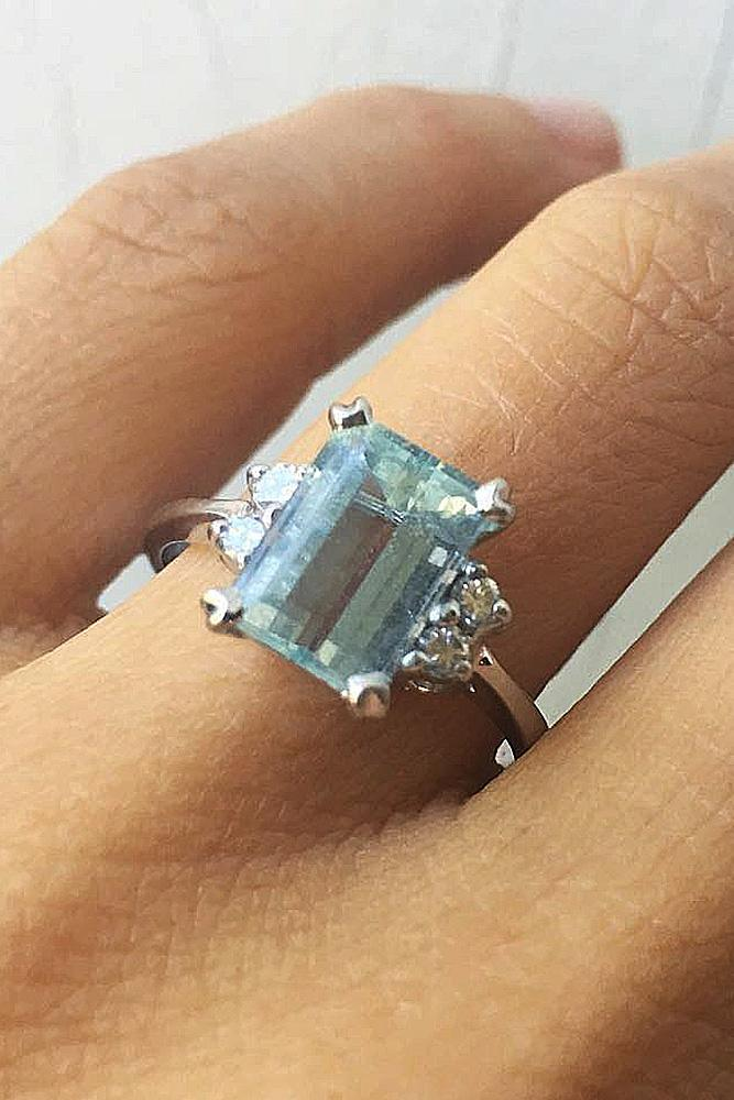 30 aquamarine engagement rings for romantic girls oh so
