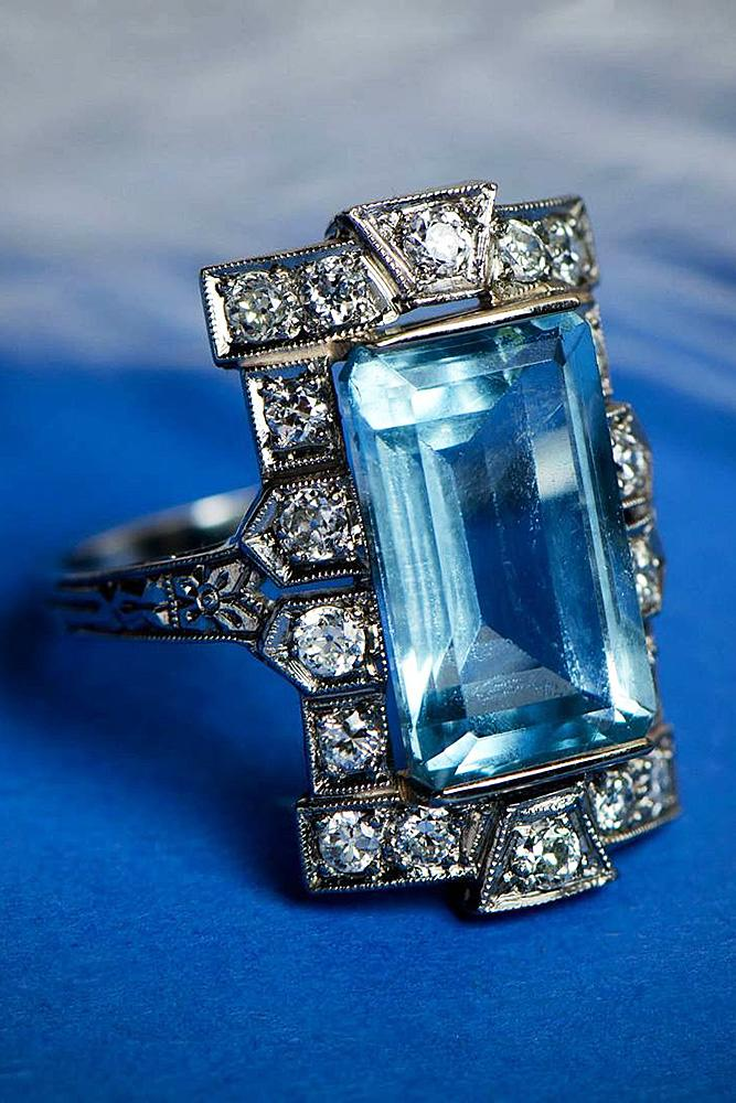 aquamarine engagement rings emerald cut vintage white gold