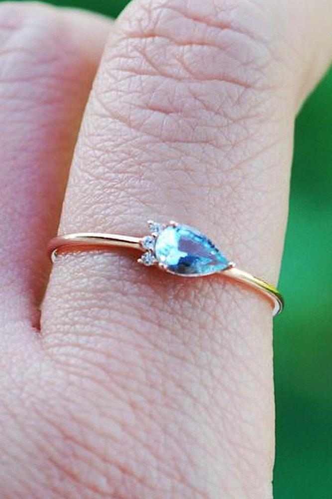 aquamarine engagement rings pear cut rose gold solitaire