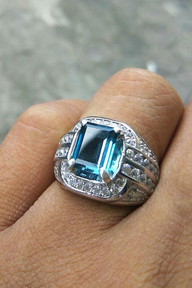 aquamarine engagement rings princess cut white gold