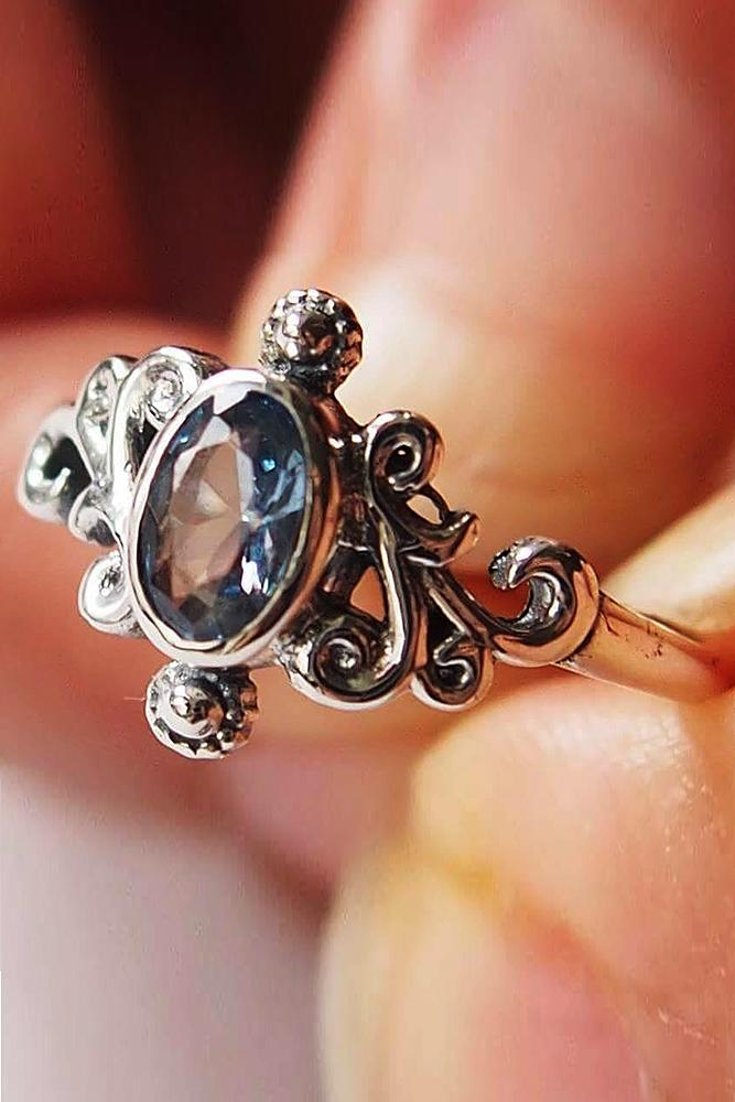 aquamarine engagement rings vintage oval cut