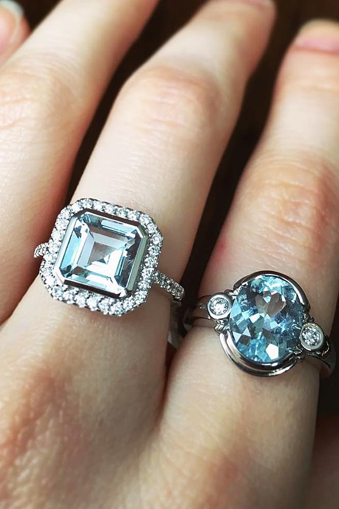 aquamarine engagement rings white gold halo