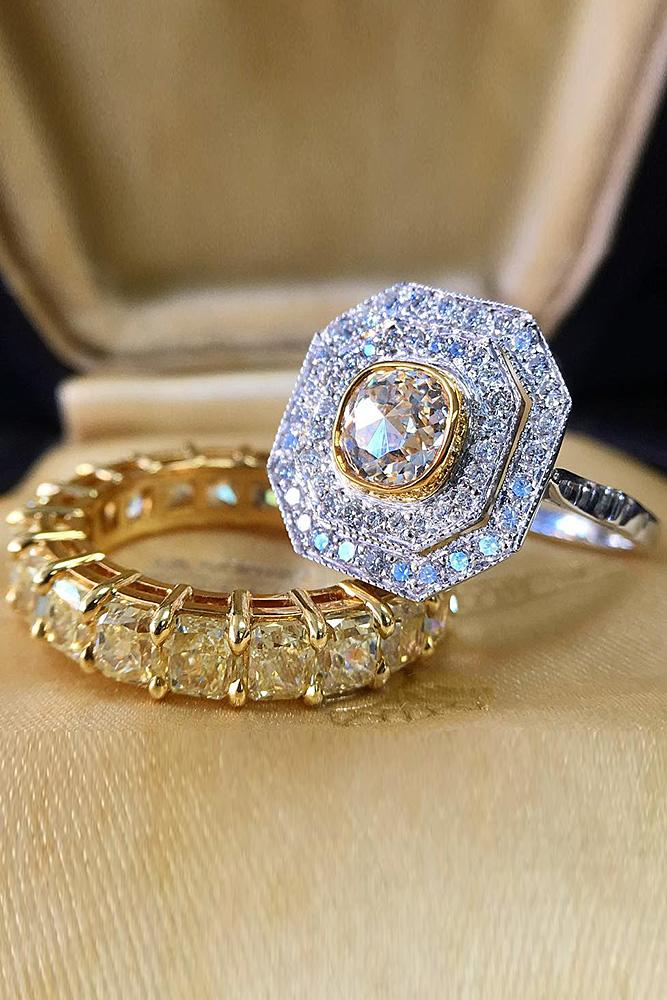 art deco engagement rings double halo gold set
