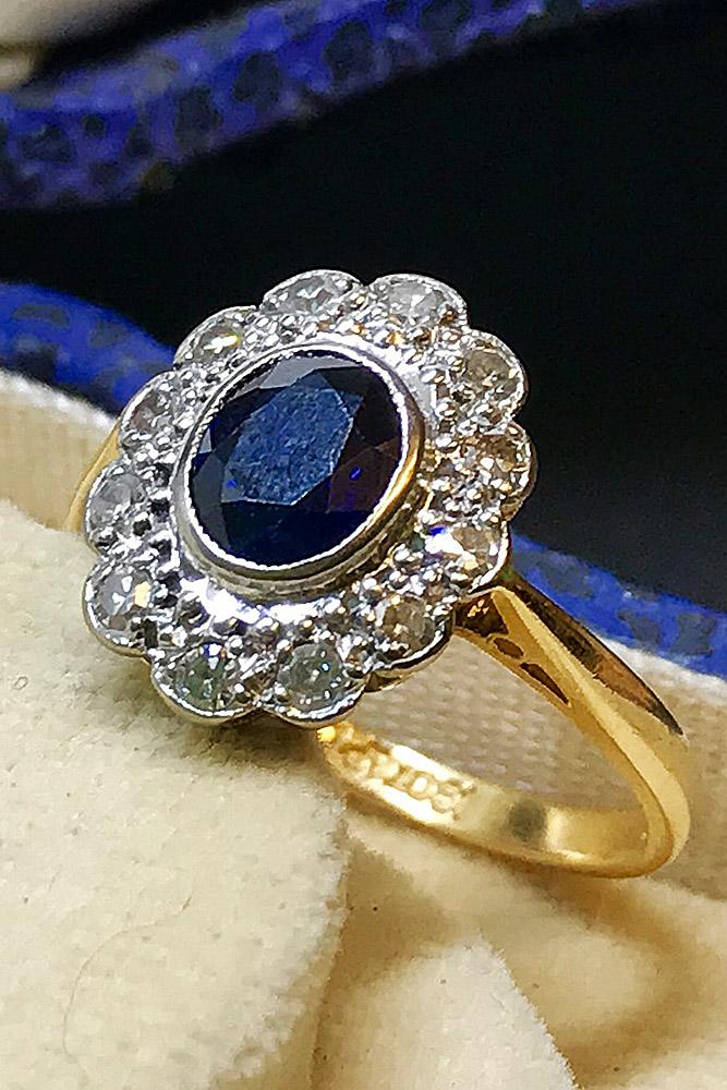 art deco engagement rings floral yellow gold oval cut sapphire