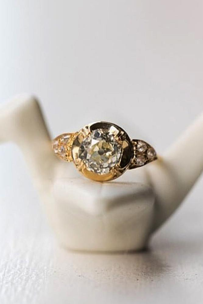 art deco engagement rings round cut yellow gold