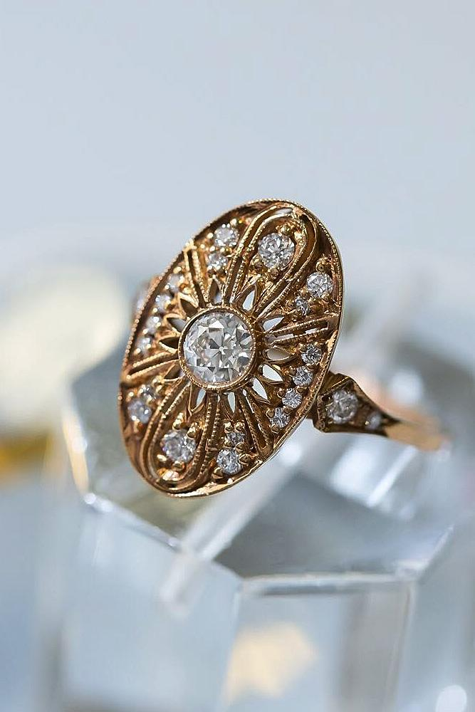 art deco engagement rings yellow gold round cut