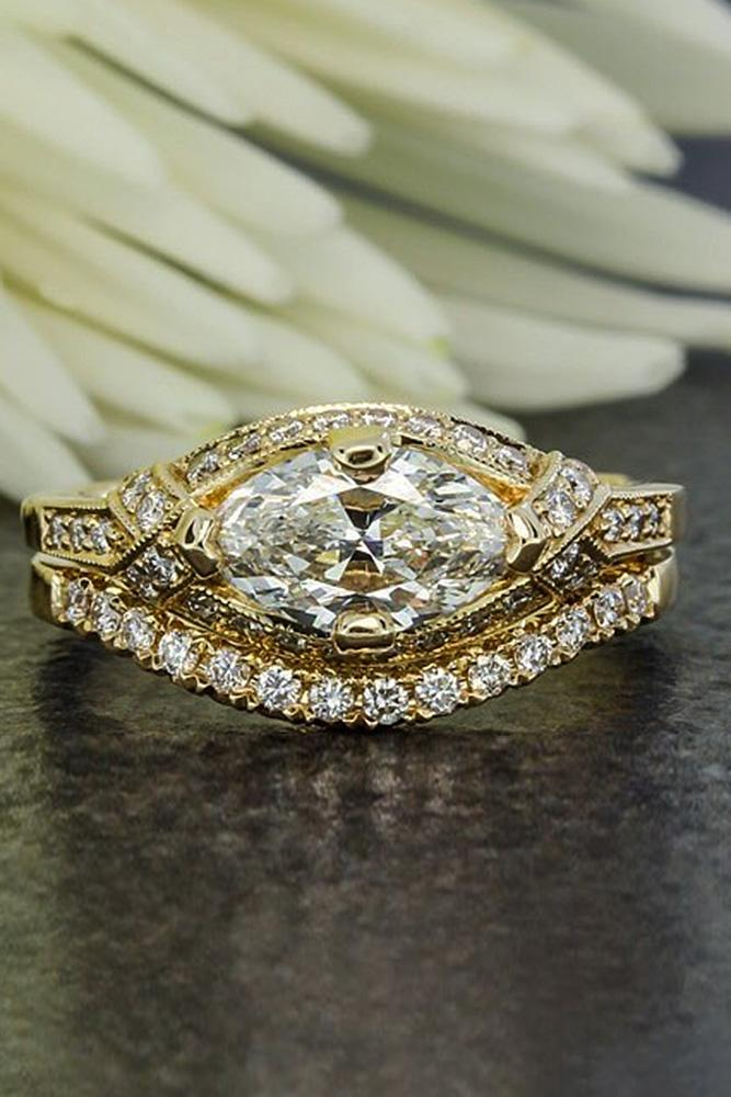 art deco engagement rings yellow gold set marquise cut