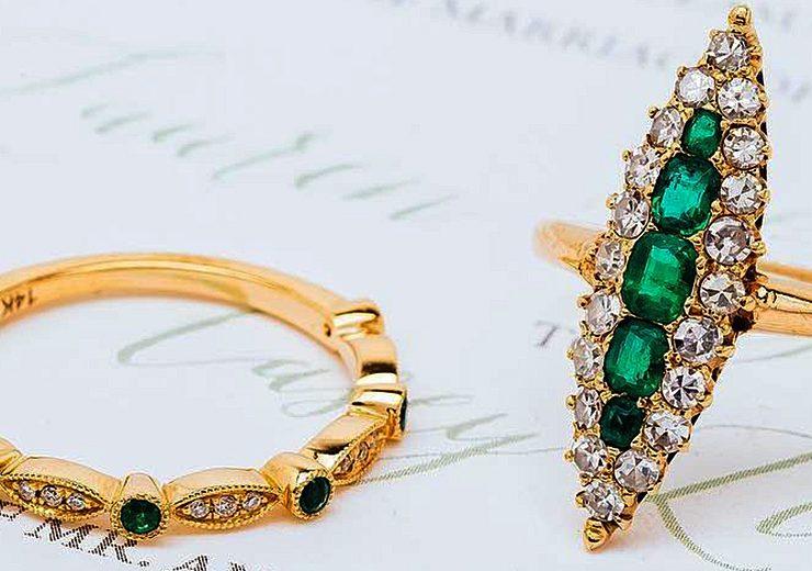 art deco engagement rings yellow gold set